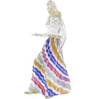 Dino Martens Murano Zig Zag Ribbons Skirt Italian Art Glass Nude Woman Sculpture For Sale