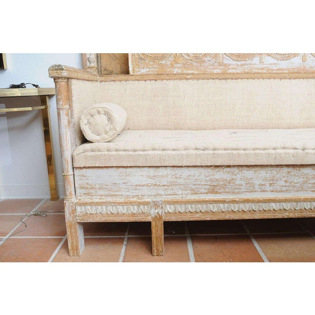Early Gustavian Bench With Beautiful Carved Decoration All Around. For Sale - Image 4 of 11