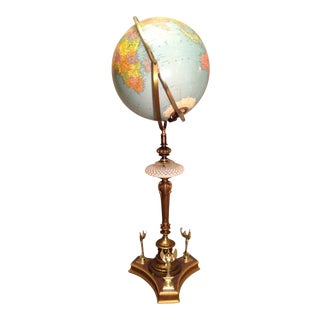 Retro Cornucopia Art Deco World Globe Floor Lamp