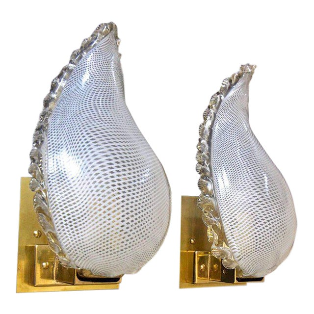 1940s Mid-Century Modern Murano Latticino Leaf Form Wall Sconce Lights - a Pair For Sale