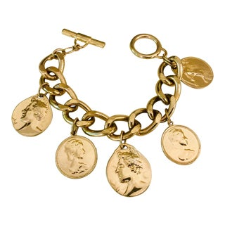 1980s Gold Roman Coin Charm Bracelet For Sale