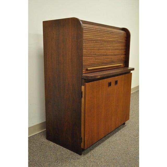 1960's Danish Style Teak Tambour Roll Top Secretary Desk For Sale - Image 11 of 13