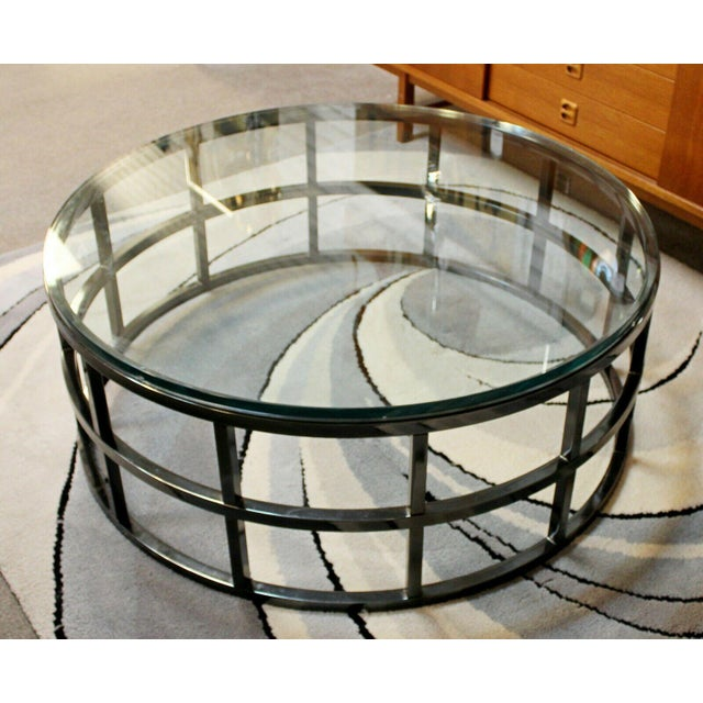 1980s Contemporary Modernist Large Round Gunmetal Glass Coffee Table Brueton 1980s For Sale - Image 5 of 10
