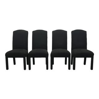 Set of 4 Navy Upholstered Dining Chairs