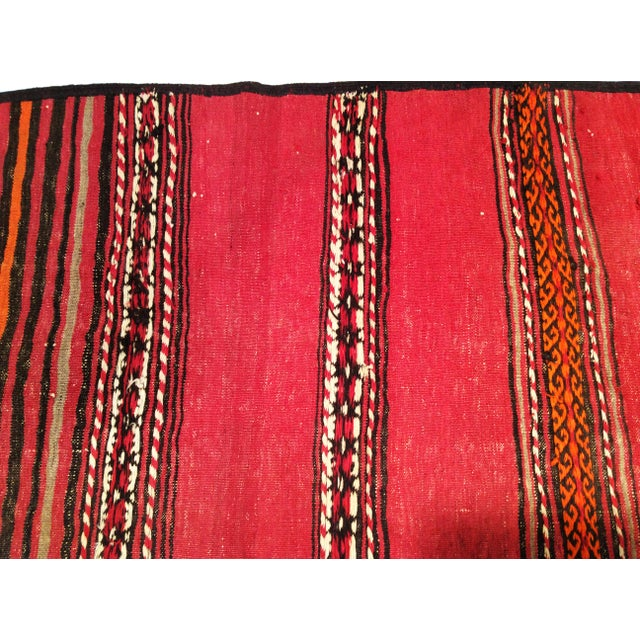 1950s Moroccan Red and Orange Wool Kilim Runner - Image 6 of 9