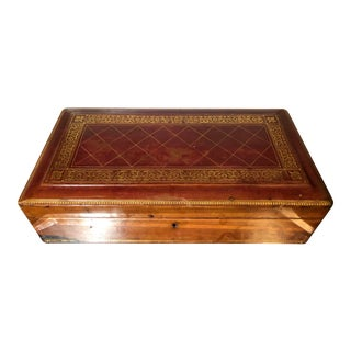 Antique Italian Leather Gentleman's Jewelry Box For Sale