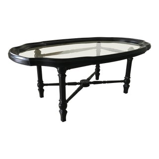 1960s Traditional Black Painted Wood & Glass Coffee Table For Sale