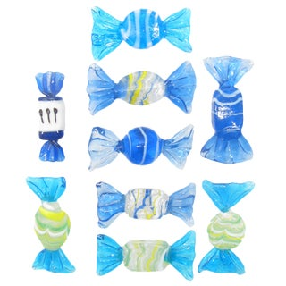 Blue Murano Art Glass Candies, Set of 9 For Sale