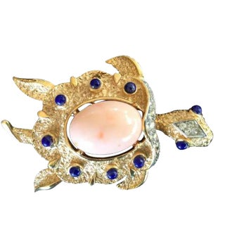Trifari Turtle Pin With Faux Coral and Lapis Cabochons. 1960's. For Sale