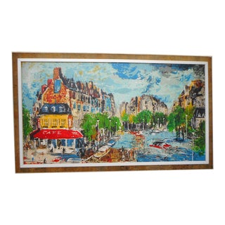 French Mid Century Graphic Paris Scene Signed Framed Oil on Canvas For Sale