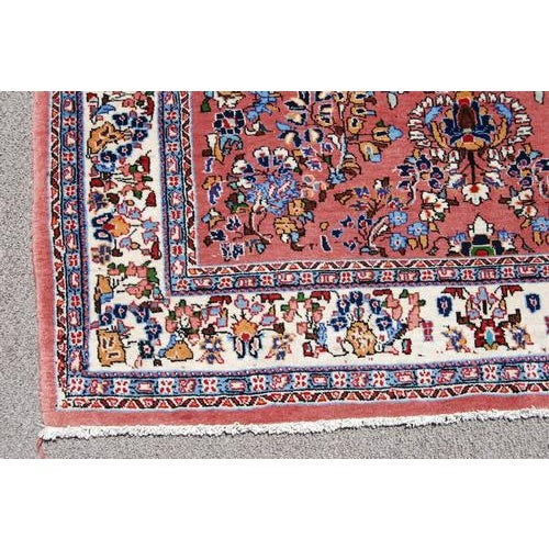 Traditional Handmade Floral Medallion Persian Sarouk Rug - 4.11' x 7.2' For Sale - Image 3 of 6