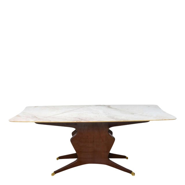 Italian Modern Mahogany, Brass and Onyx-Top Dining or Center Table by Borsani For Sale