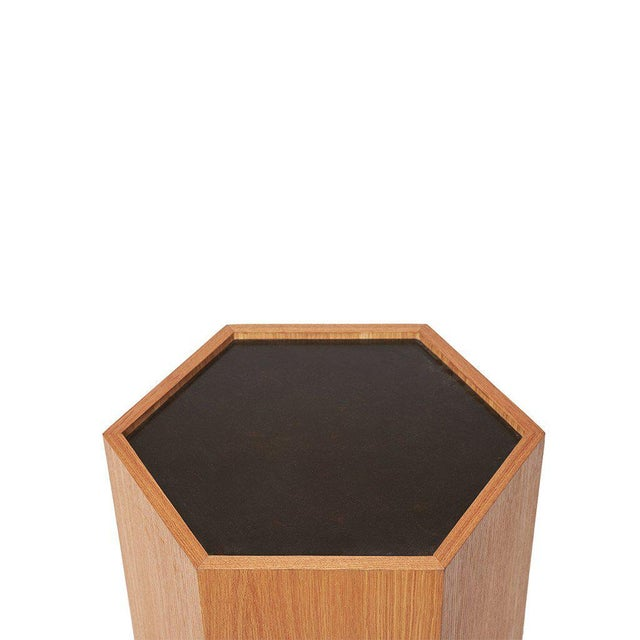 Contemporary Sabin Oak Hexagon Vallejo Table For Sale - Image 3 of 5