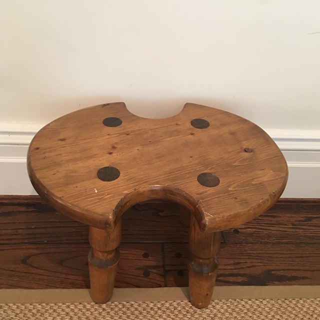 Americana Rustic Americana Wooden Stool For Sale - Image 3 of 11