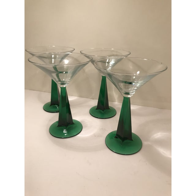 1970s Mid-Century Modern Green Stem Martini Glasses - Set of 4 For Sale - Image 4 of 6