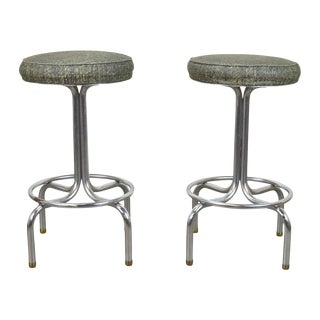 Vintage Mid-Century Modern Chrome Short Stools - A Pair For Sale