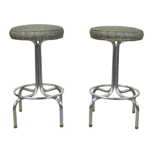 Miraculous Vintage Mid Century Modern Chrome Short Stools A Pair Evergreenethics Interior Chair Design Evergreenethicsorg