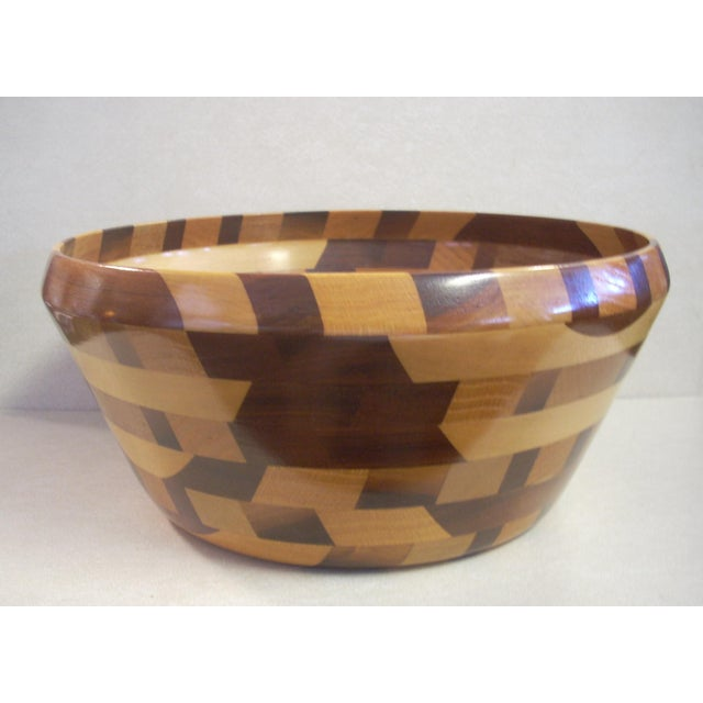 Tom Sullivan Geometric Mixed Wood Salad Bowl For Sale In Naples, FL - Image 6 of 6