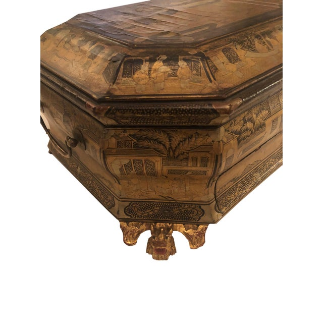 19th Century Chinese Black Lacquer Work Box For Sale In Tampa - Image 6 of 11