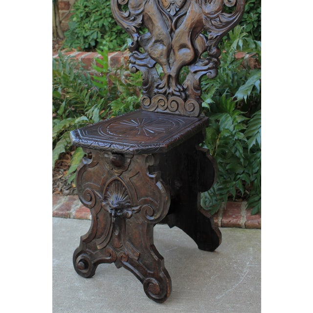 Mid 19th Century Antique Italian Carved Walnut Sgabello Chair For Sale - Image 9 of 13