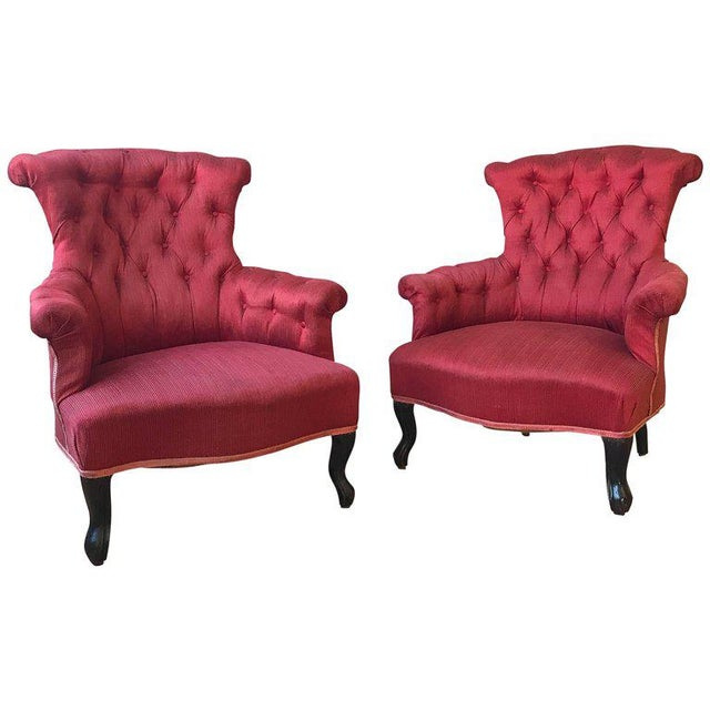 Pair of French Upholstered Armchairs in Red Fabric For Sale - Image 11 of 11