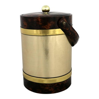 Georges Briard Ice Bucket Gold and Faux Tortoise Shell Vinyl Mid Century Modern