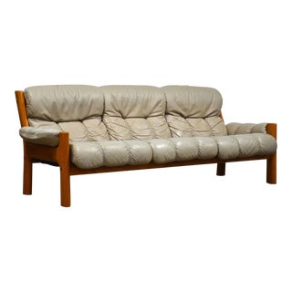 Beige Leather and Teak Sofa by Ekornes For Sale