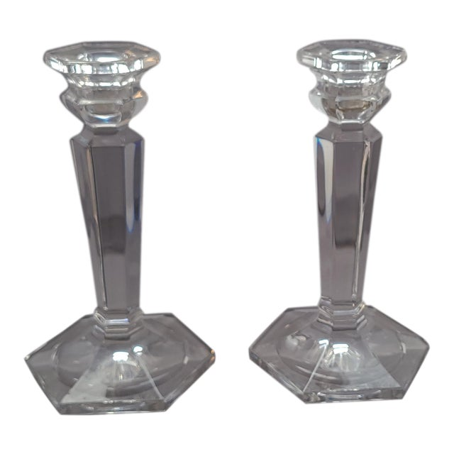 Decorative Glass Tabletop Candlestick Stands - a Pair For Sale