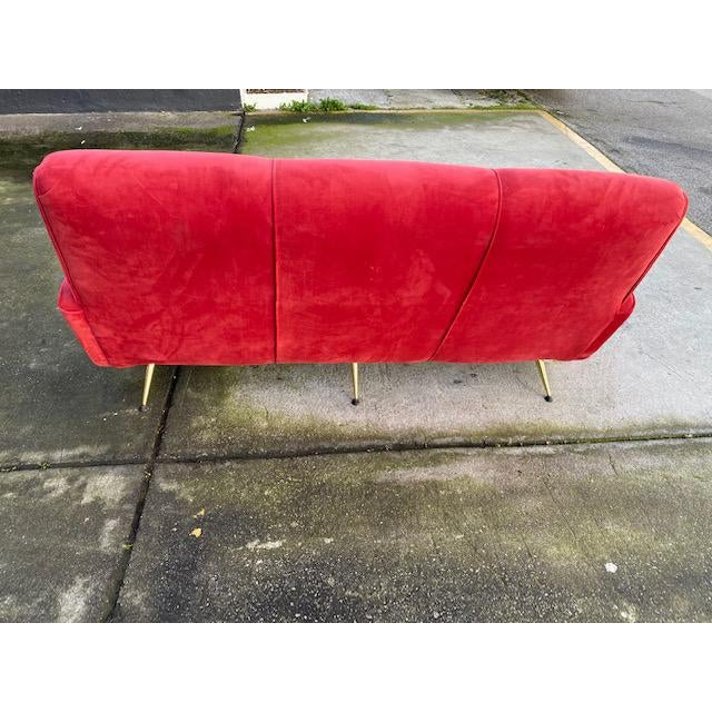 Red Exuberant Maurice Mourra Mid-Century Sofa For Sale - Image 8 of 10