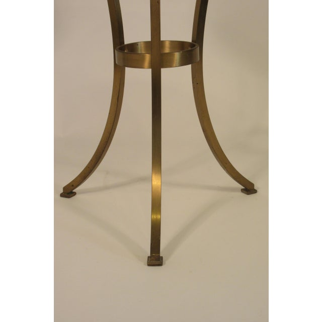 George Guerin Solid Brass Gueridon Drink Table With Marble Top For Sale - Image 4 of 8