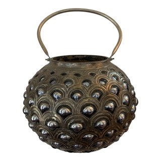 Tribal Artistic Metal Container With Handle For Sale