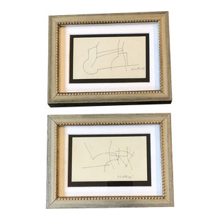 Gallery Wall Collection 2 Original Vintage Robert Cooke Miniature Abstract Ink Drawings 1970's - a Pair For Sale