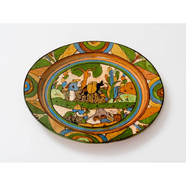 Wonderful piece of 1930s over glazed ceramic finely painted with scene of Old Mexico. hand-painted with natural mineral...