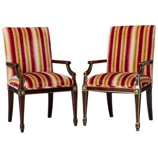 Pair of Regency Style Fauteuils With Gild Elements and Striped Velvet Upholstery For Sale