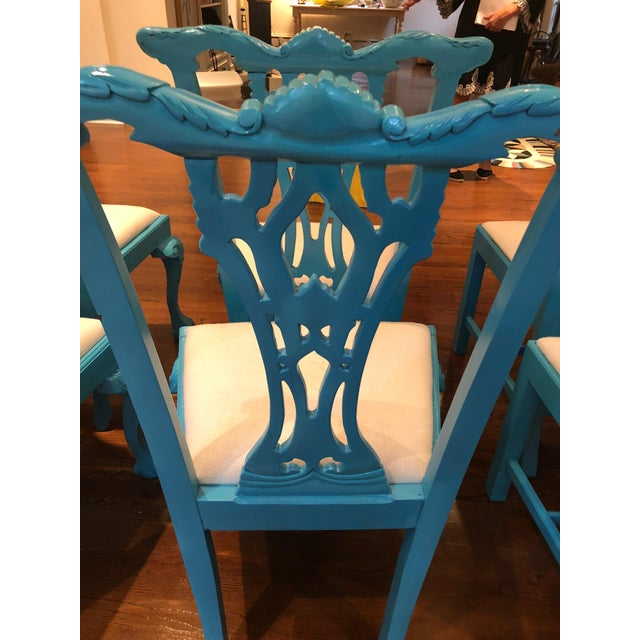 1950s 1950s Vintage Laquered Carved Wood Dining Chairs - Set of 8 For Sale - Image 5 of 13