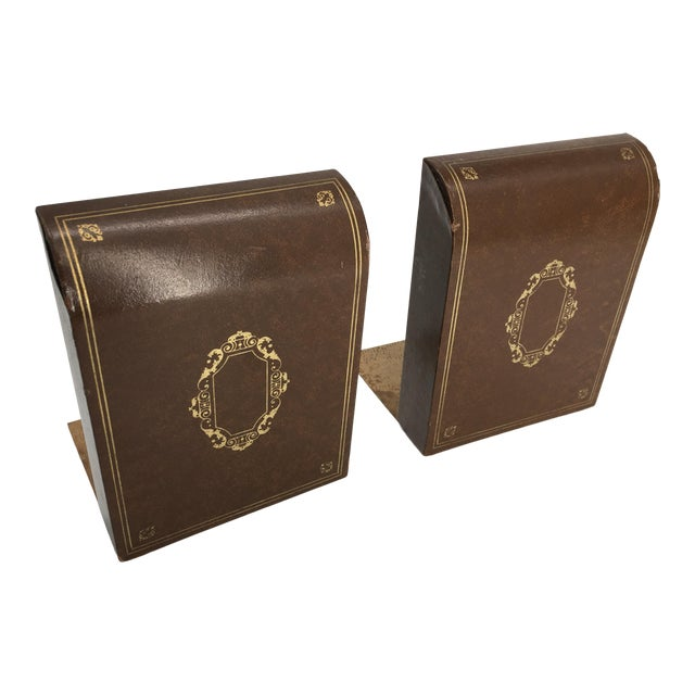 Vintage Mid 20th Century Faux Leather Bookends - a Pair For Sale