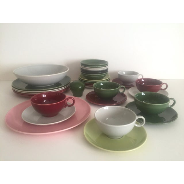 This vintage Mid Century Modern Ballerina by Universal Potteries multicolor ceramic dinnerware 32 piece set is a very...
