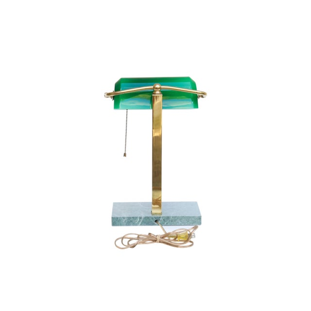 Green Glass, Brass & Marble Banker's Desk Lamp For Sale In New York - Image 6 of 10