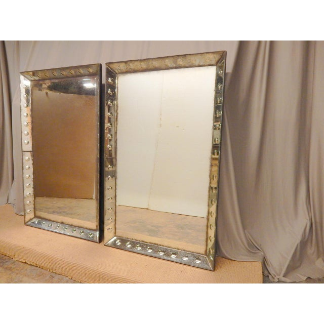 Pair of 1930/40's Glass Framed Mirrors For Sale In New Orleans - Image 6 of 7