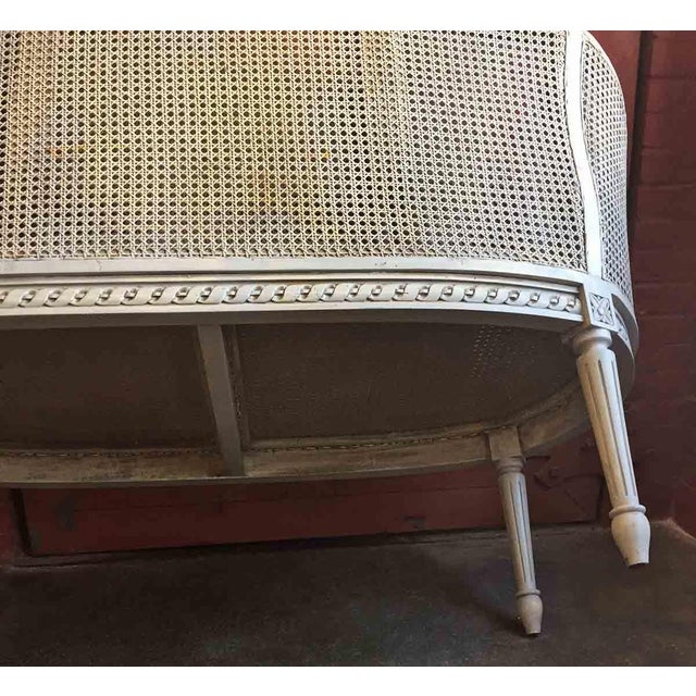 Late 20th Century White Caned Settee For Sale - Image 4 of 10