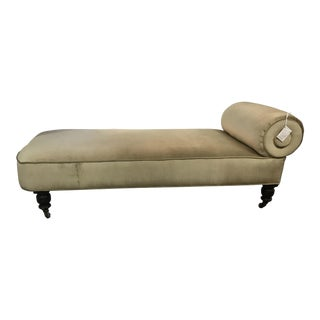 1930s Lounge Chaise Newly Upholstered in Velvet.