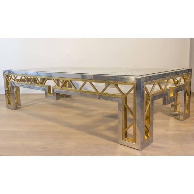 French 1970s Polished Steel and Brass Coffee Table with Glass Top - Image 6 of 8