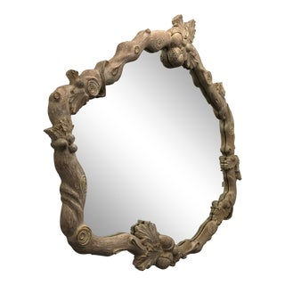 1990s Vintage Platt Furniture Hand Carved Wall Hung Mirror With Pickle Wood Finish For Sale