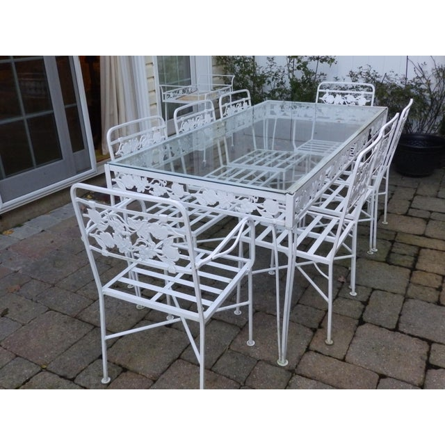 Mid-Century Modern 1950s Mid Century Modern Salterini Grapeleaf Wrought Iron Dining Set - 9 Pieces For Sale - Image 3 of 5