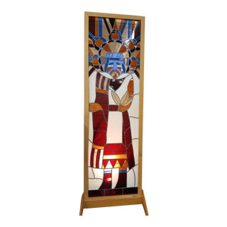 1960s Vintage Southwestern Stained Glass Window For Sale