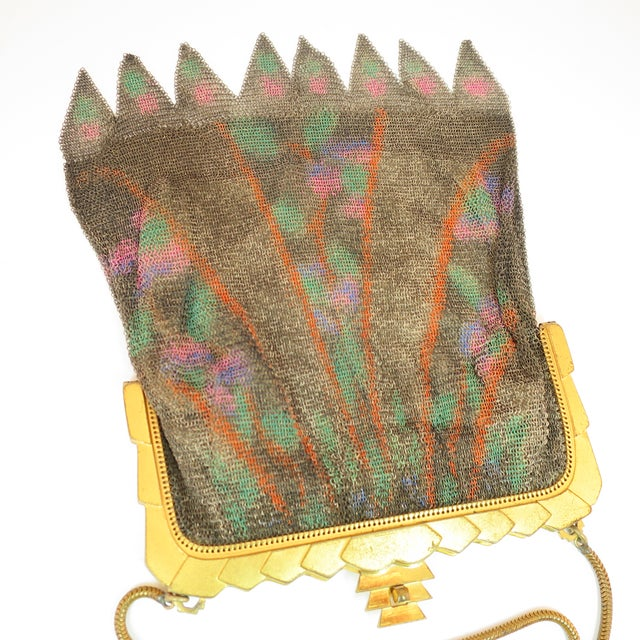 Whiting & Davis Deco Hand-Tinted Dresden Mesh Evening Purse 1920s For Sale - Image 9 of 13