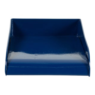 Vintage Steel Letter Tray Refinished in Midnight Blue