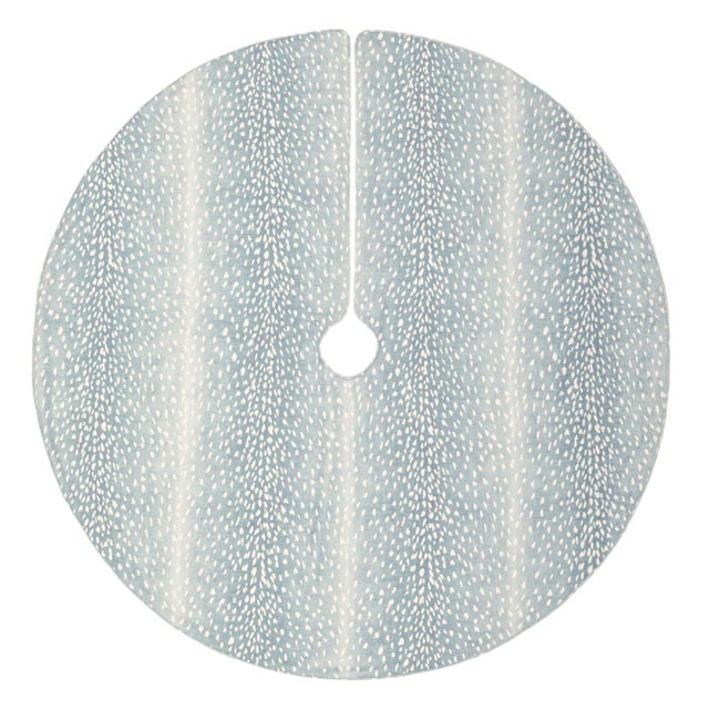 Contemporary Spa Blue Antelope Christmas Tree Skirt For Sale - Image 3 of 3