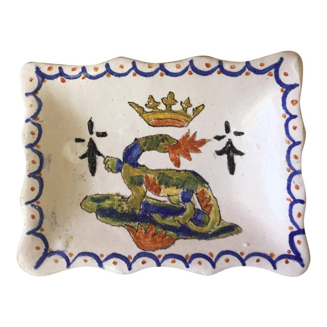 """1900s Petite French Faience Salamander Dish Signed """"Blois"""" For Sale"""