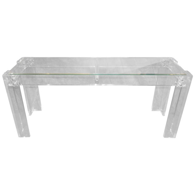 Charles Hollis Jones Style Mid Century Modern Lucite and Glass Console Table For Sale In Philadelphia - Image 6 of 6